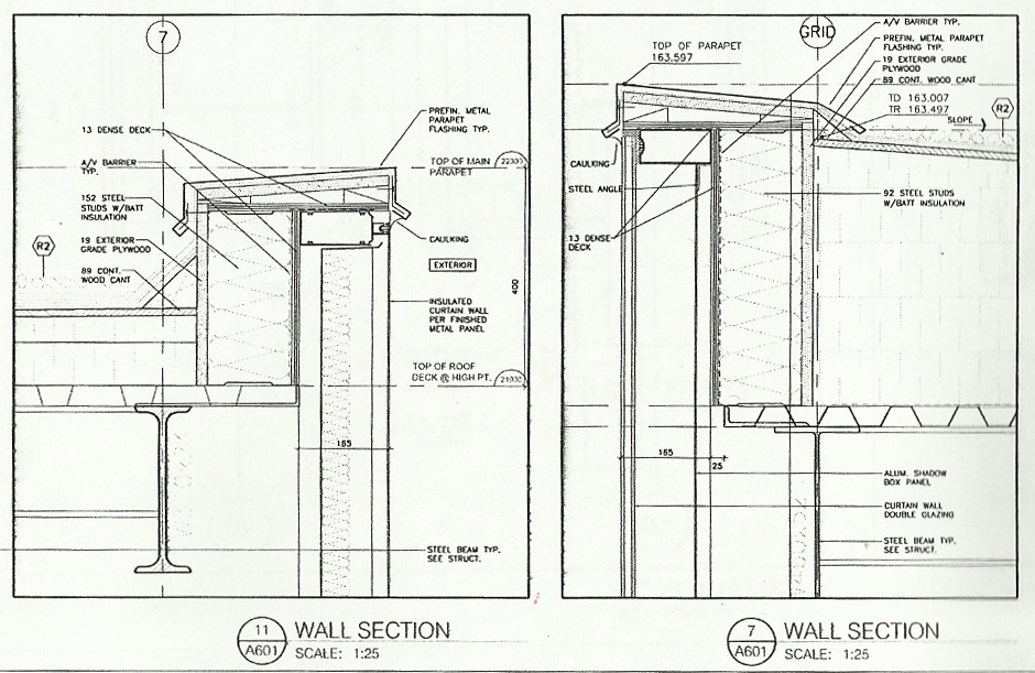 HMC: Curtain Wall At Parapet, Pg. A601 (Insulated Unit With Metal .
